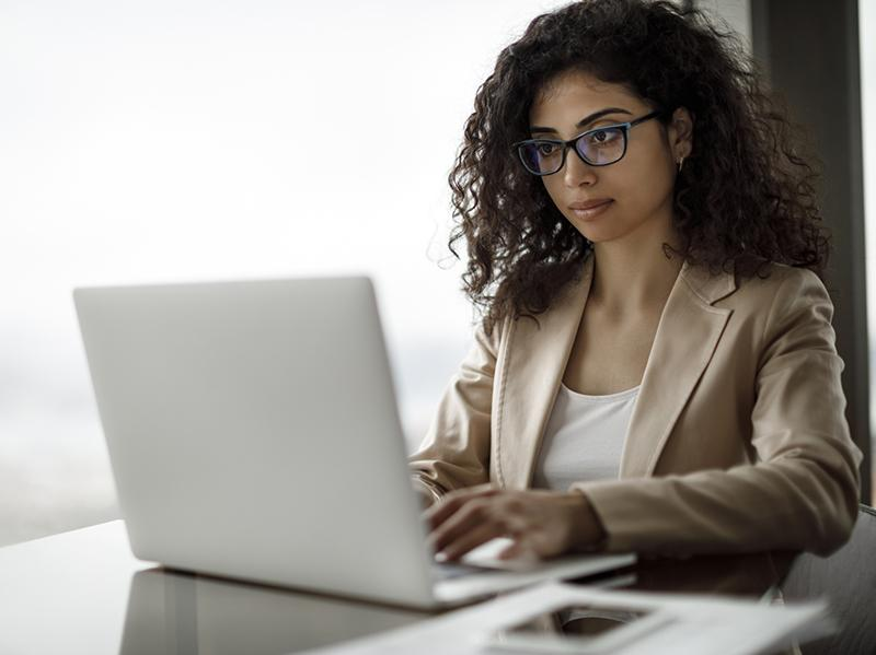 Photo of woman with laptop